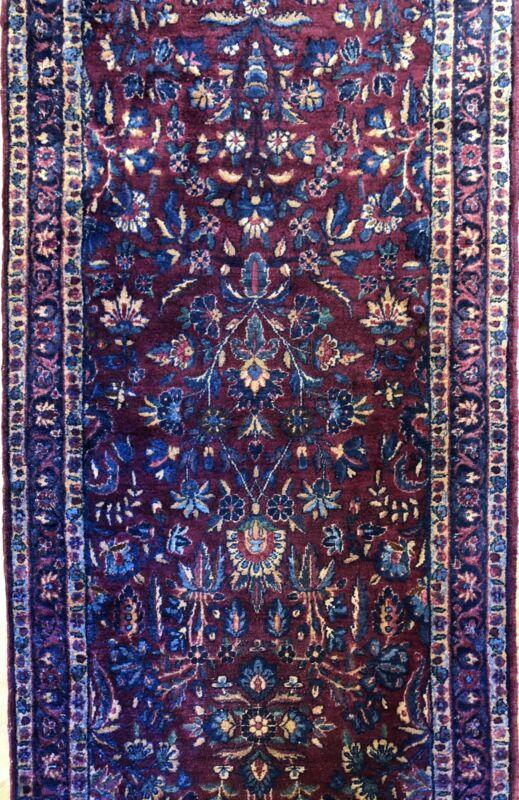 Fantastic Floral - 1920s Antique Oriental Rug - Handmade Runner - 2.6 X 15.5 Ft