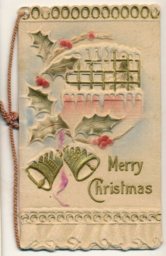 c1900 Die Cut and Embossed Christmas Card, Greetings Inside