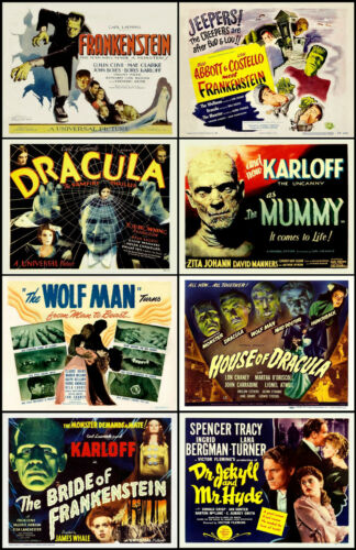 FRANKENSTEIN DRACULA WOLFMAN MUMMY Lot Of 8 Individual HORROR 11x14 LC Prints