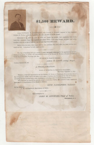 RARE 1872 PROVIDENCE RHODE ISLAND Murder WANTED POSTER Crime POLICE Dennehey RI
