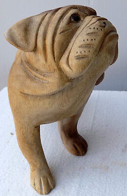 Bulldog english wooden suar sculpture dog in movement created in hand cm20x10