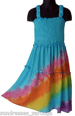Girls Blue Rainbow Tie Dye Dress Multi Color Sundress Summer NEW Sizes 4 6 8