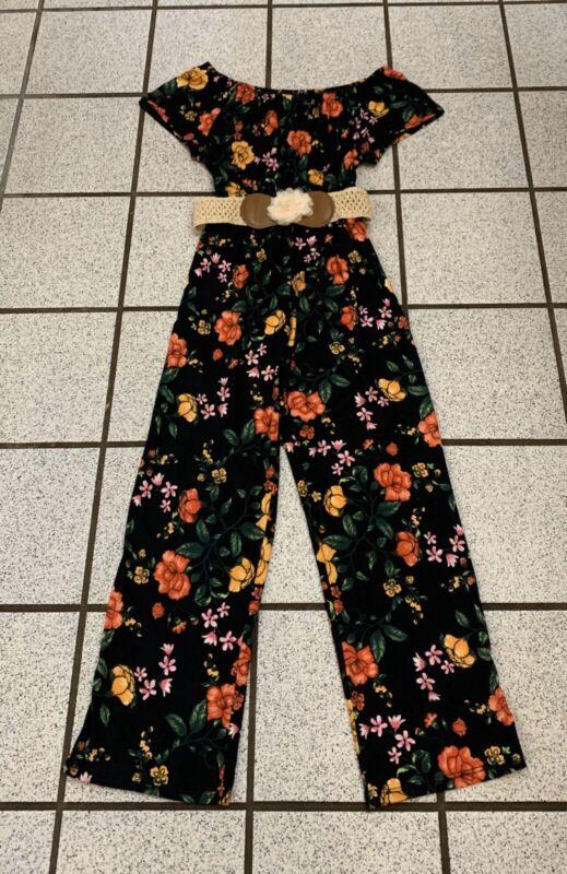 PINC Girls Jumpsuit Floral Off Shoulder Short Sleeve Belt Polyester 10 / 12