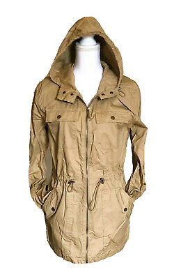 Michael Kors Utility Jacket Long Sleeve Hooded Coat Khaki Size Small NWT