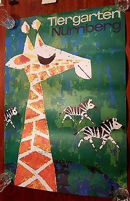 Tiergarten Nürnberg Zoo 70er Poster Plakat alt selten original vintage