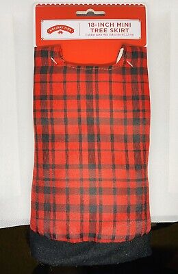 NEW Holiday Time RED PLAID 18 Inch MINI CHRISTMAS TREE SKIRT