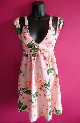 ASOS Pink floral low cut A-line dress sz-8. (summer/mini/strappy/frilly/V-neck)  Floral, Low Cut