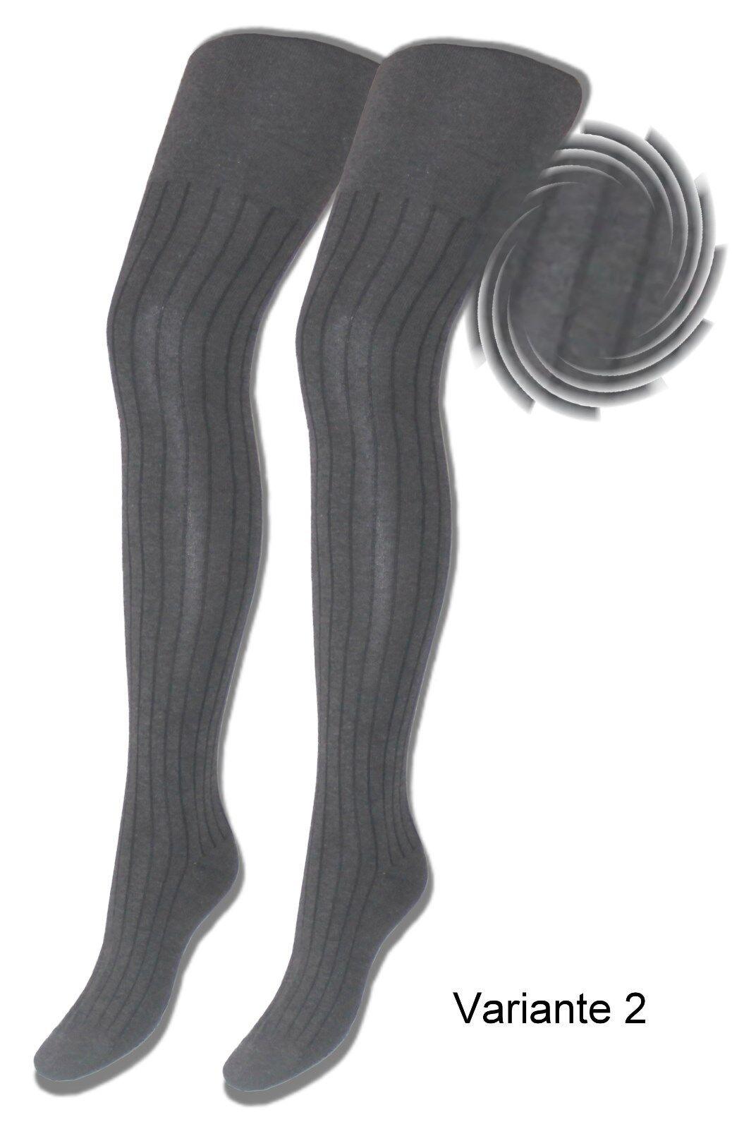 Damen Strumpfhose 2 Stück Baumwolle Strickstrumpfhose schwarz braun anthrazit