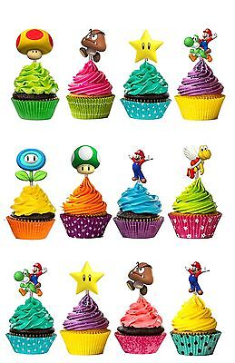 Mario Brothers Cutout Double Sided Cupcake Picks Cake Toppers 12 - Mario Cake Topper