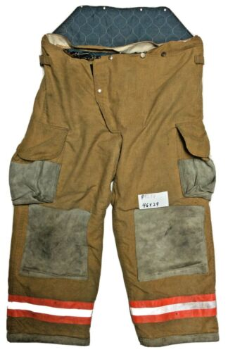 46x29 Janesville Lion Brown Firefighter Turnout Bunker Pants with Orange P1294