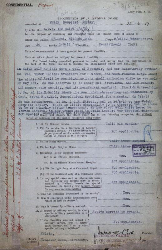 Confidential Medical Report of War Poet Wilfred Owen Shell Shock World War I
