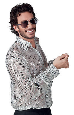 Mens Silver Shirt 70s 80s Disco Costume Fancy Dress 1970s 1980s Party Outfit NEW