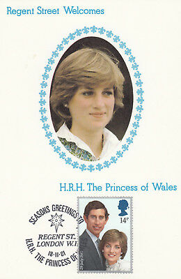 (07238) GB Havering Postcard Cover Princess Diana Regent Street Christmas Lights Princess Christmas Lights