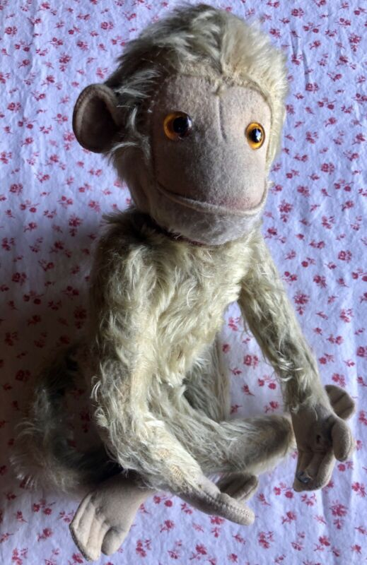 """Vintage Antique Jocko Steiff Stuffed Fully Jointed Mohair Monkey Red Collar 13"""""""