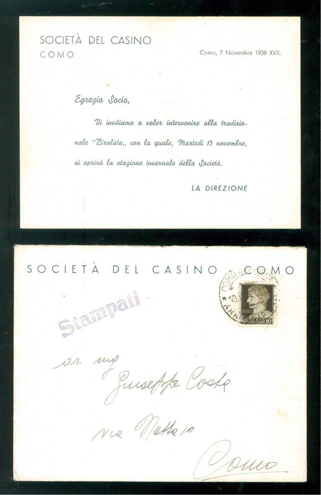 SOCIETA' DEL CASINO' COMO INVITO SERATA APERTURA STAGIONE INVERNALE 1938 + BUSTA