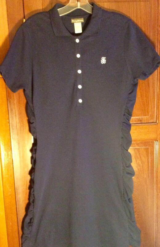 NEW Tommy Bahama Woman's Golf Polo Dress, Large, Navy Blue, SS, Side Gathers