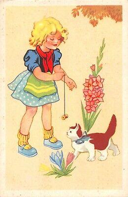 AK Künstlerkarte Mädchen mit Katze Postkarte gel. 1942