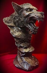 Werewolf Lycan Bust - Statue Figurine - Gothic Fantasy Mythical Home Decor