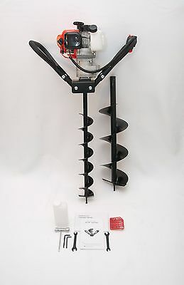 "Hand-Held Post Hole Digger / Earth Auger w/ 4"", 8"" Bits, 52cc 2.3hp Gas Engine"
