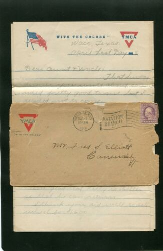 1918 WORLD WAR 1 SOLDIERS LETTER TO FRED S ELLIOTT CAVENDISH VT  YMCA STATIONERY