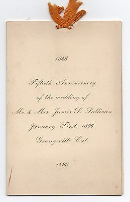 1846-1896 Fiftieth Wedding Anniversary Card Grangeville CA