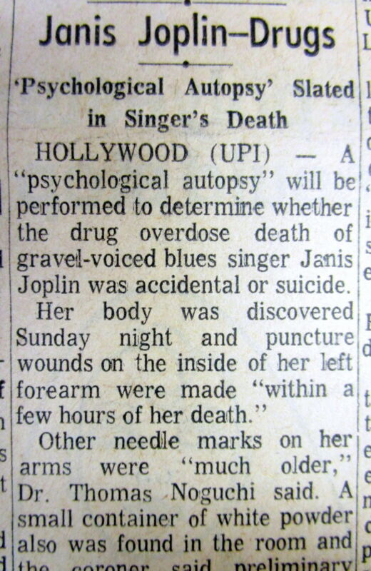 1970 newspaper DEATH of JANIS JOPLIN from overdose of drugs & alcohol at age 27