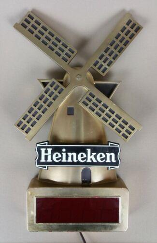 "vintage heineken digital clock sign windmill breweriana 18"" tall works"