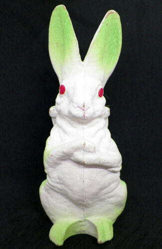 "VTG Paper Mache Easter Bunny Rabbit Candy Container ""11 green"
