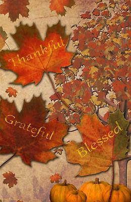 - Thankful Grateful Blessed Fall Leaves Garden Flag Emotes Double Sided Pumpkins