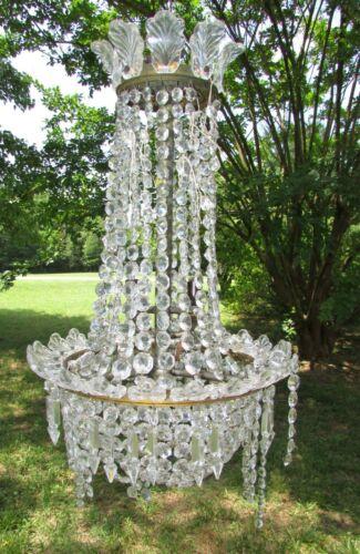 Antique Gaslight Crystal Chandelier