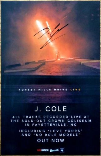 J COLE Forest Hills Drive Live Ltd Ed Hand Signed Poster +BONUS Hip-Hop Poster!
