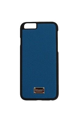 NEW 200 DOLCE & GABBANA Phone Case Blue Silver Logo Dauphine Leather iPhone6