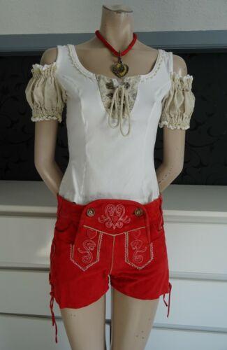 Ladies Girls New German Bavarian Red Lederhosen Leather Shorts 4