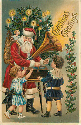 Embossed Postcard Santa Claus Plays a Victrola For Kids on Christmas ()