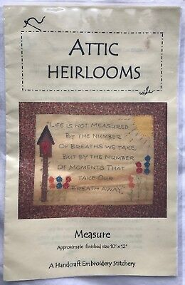 "Attic Heirlooms Measure Embroidery Pattern - ""Life is Not Measured by. . ."""