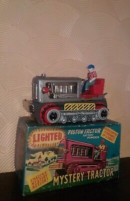 Rare Nomura Tin Lighted Piston Tractor B O Japan No Yonezawa Robot Space Toy