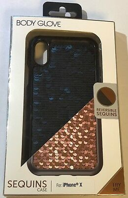 Body Glove Reversible Gloves (NEW Body Glove Sequins Reversible Black / Rose Gold Case for iPhone X)