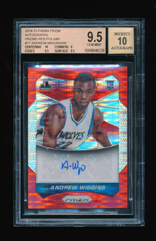 Bgs 9.5 Andrew Wiggins 2014-15 Panini Prizm Red Pulsar Refractor Auto Rc # 01/99
