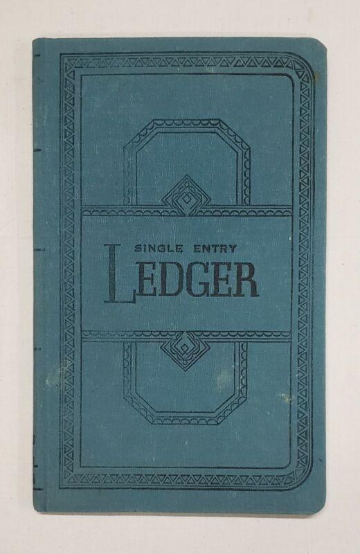 "Vintage Boorum & Pease Blue Ledger, Single Entry. S E Ledger. 11 3/8""x 7 1/2."""