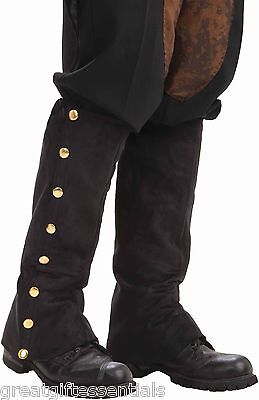 Cowboy Boot Spats (STEAMPUNK BLACK SPATS Costume Accessory Boot Shoe Tops Covers Victorian)