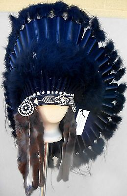 "Native American Navajo War Bonnet Headdress 36"" BLACK LEGEND all Black feathers"