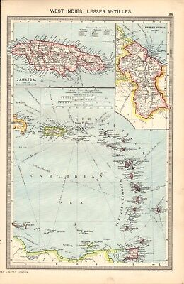 1907  LARGE ANTIQUE MAP - WEST INDIES-LESSER ANTILLES, LEEWARD, WINDWARD