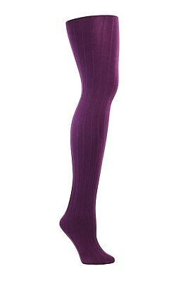 Womens Fleece Lined Ribbed Tights (Purple)