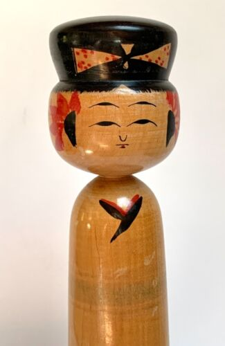 """KOKESHI DOLL VINTAGE WOODEN JAPANESE HAND PAINTED SIGNED 9.5"""" TALL"""