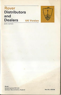 Rover Distributors & Dealers original Booklet, 1973 6th edition Pub. No 605725