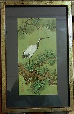 Red-Crowned Crane. Chinese watercolor.