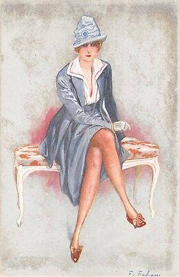 c.1910 Nouvelles Petites Femmes Seated Woman postcard artist sgd Fabiano Fashion