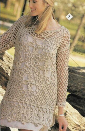 OPENWORK TUNIC TOP SWEATER 4 SIZES WOMEN