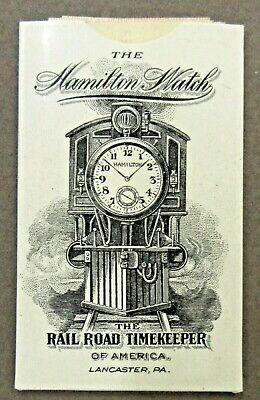 circa 1900 HAMILTON WATCH Railroad & Factory celluloid pocket stamp case holder