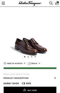 Salvatore Ferragamo Derby Shoes size 9